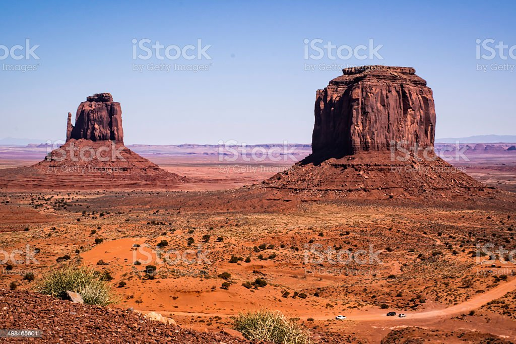 driving through monument valley stock photo