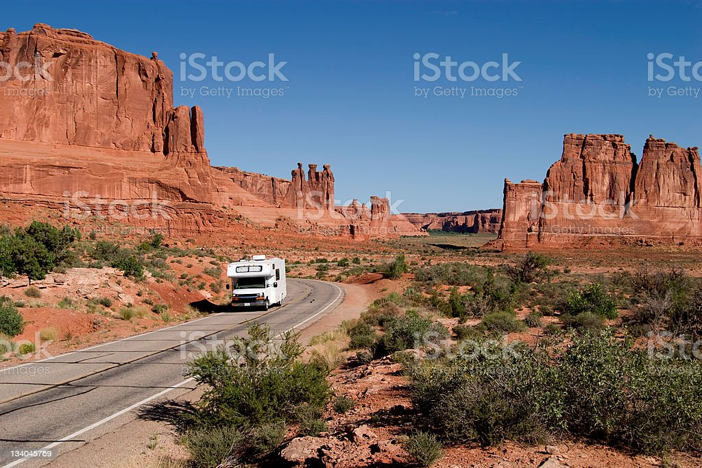 RV Driving Through National Park stock photo