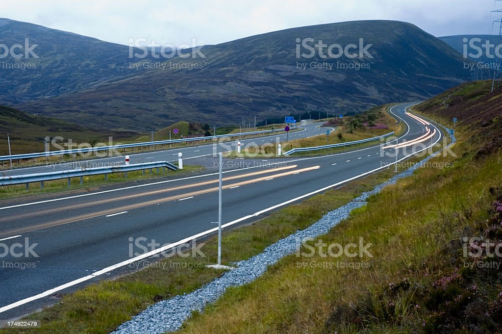 Driving through the Highlands at Dusk royalty-free stock photo