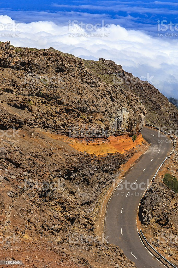 Driving through the rocks, La Palma stock photo