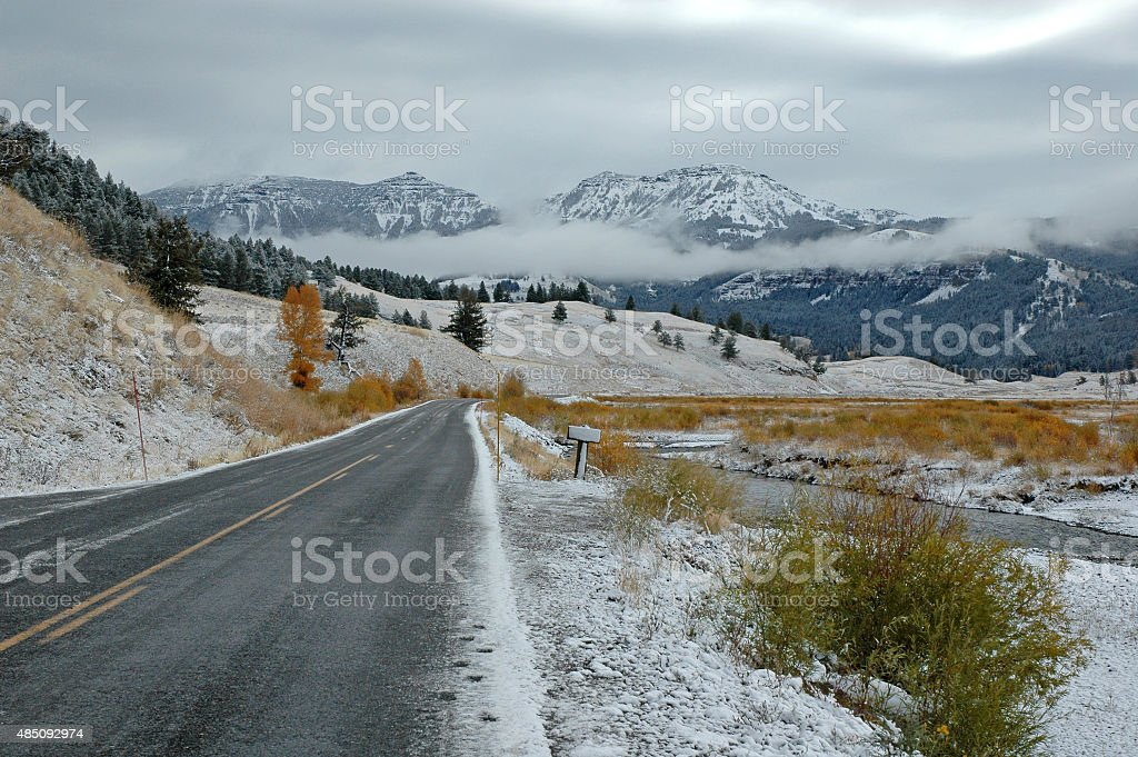 Driving through the Volcanic landscape in Yellowstone, Wyoming, USA stock photo