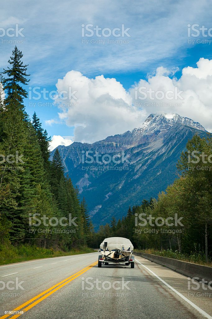 Driving through Yoho National Park in British Columbia, Canada stock photo