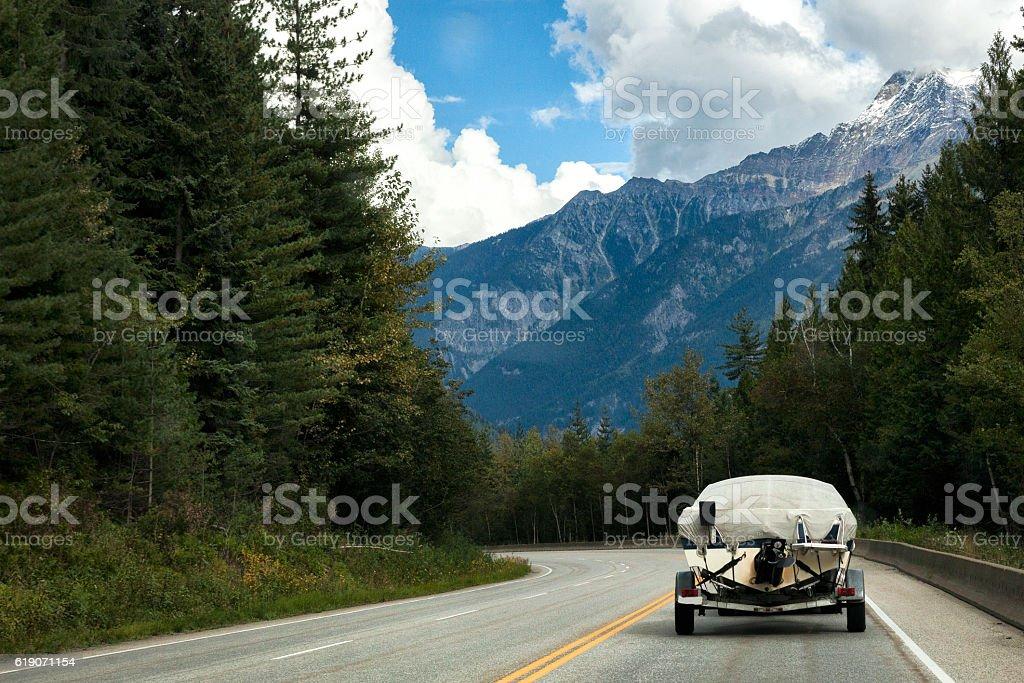 Driving through Yoho National Park in British Columbia, Canada stock photo