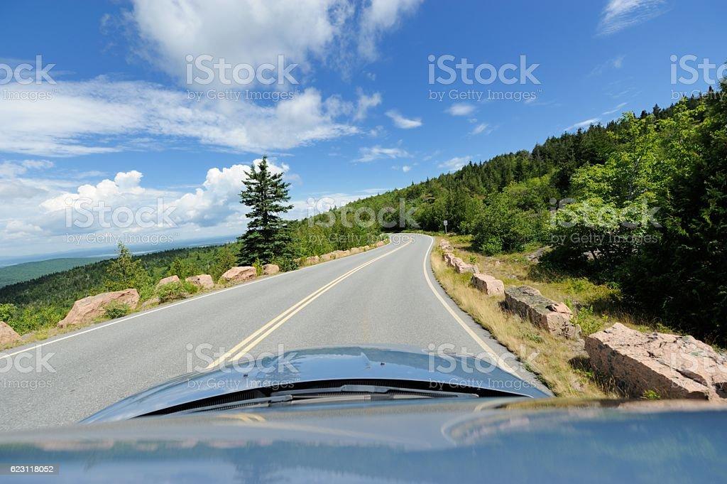 Driving thru Acadia National Park stock photo