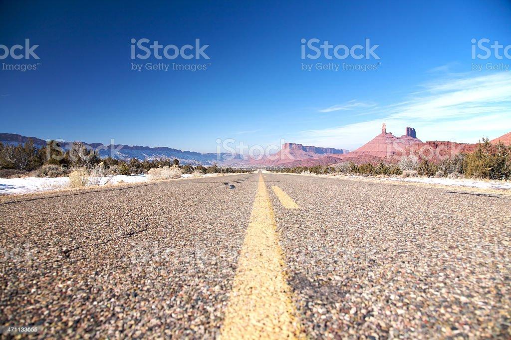 Driving thru the Castle Valley, Utah stock photo