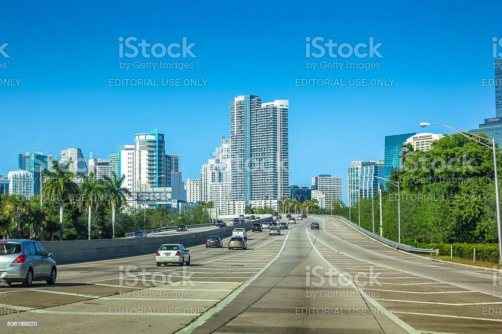 Driving to Miami Florida stock photo