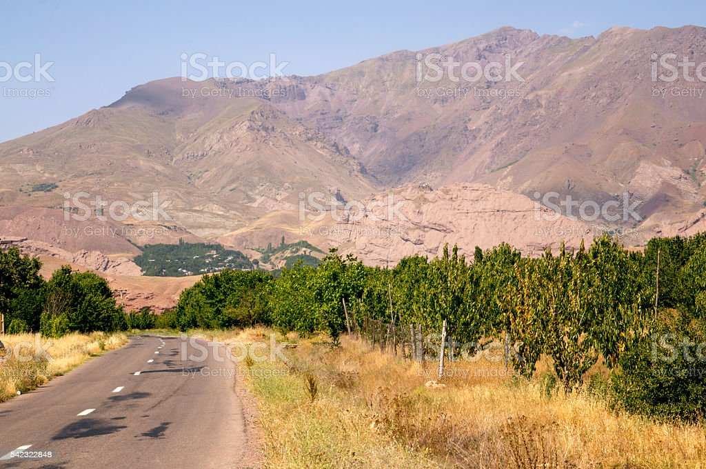 Driving to the Alamut, Castle of the Assassins, Iran stock photo