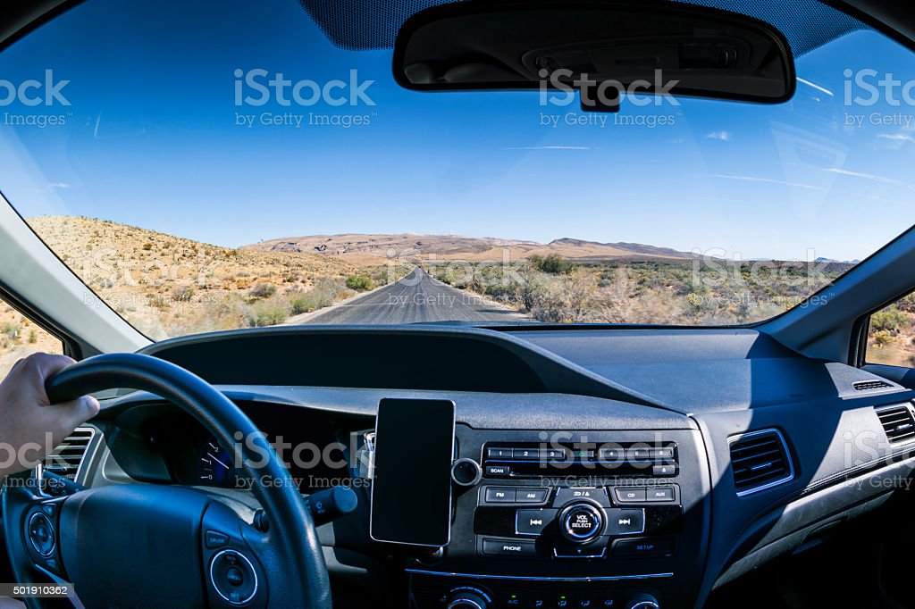 Driving to the mountains stock photo