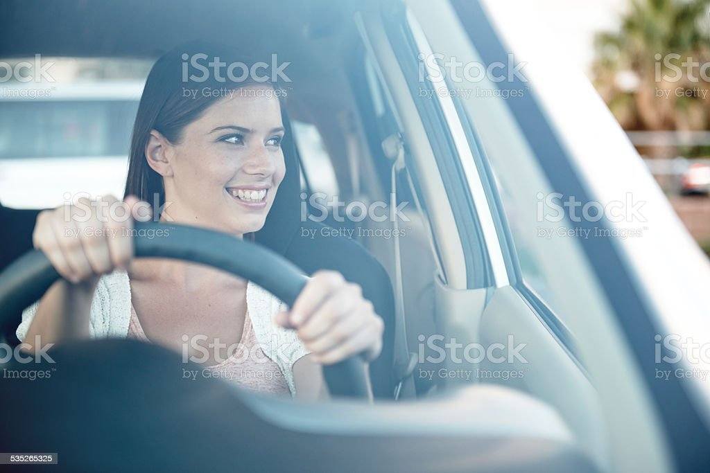Driving towards the fun stock photo