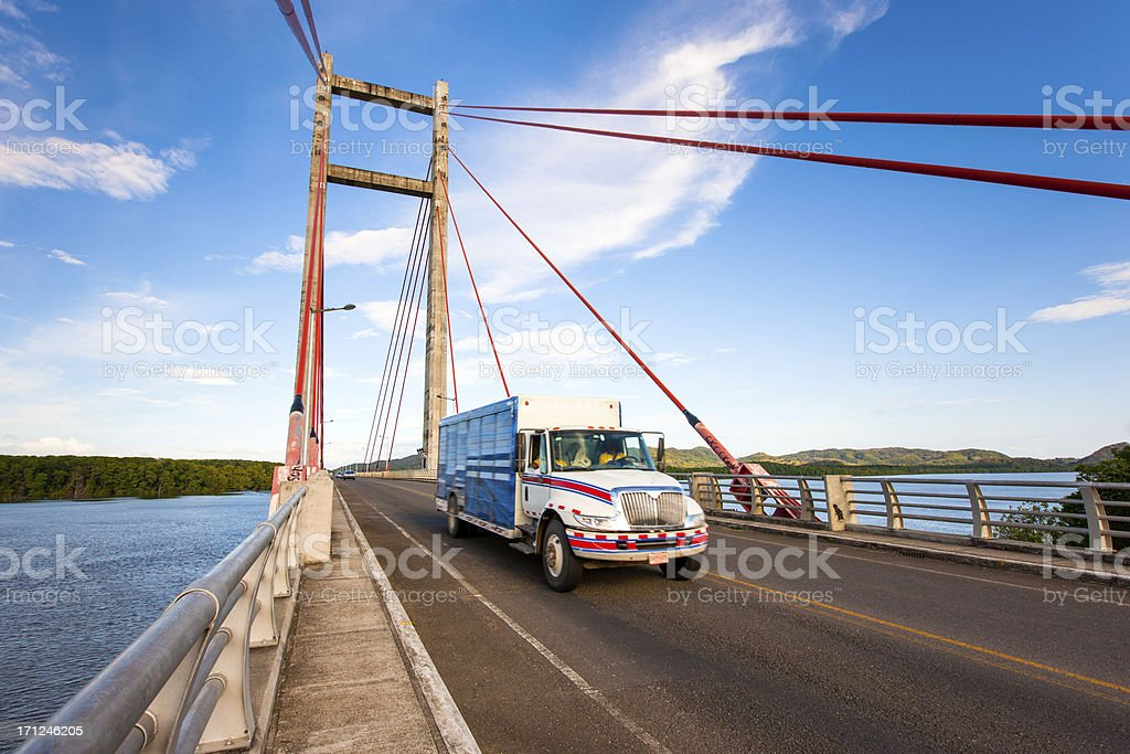 Driving Transportation Truck Cable-Stayed Bridge stock photo