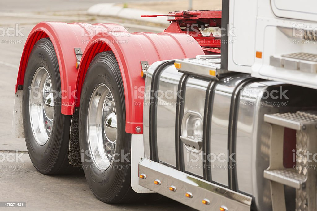 Driving Truck Wheels stock photo