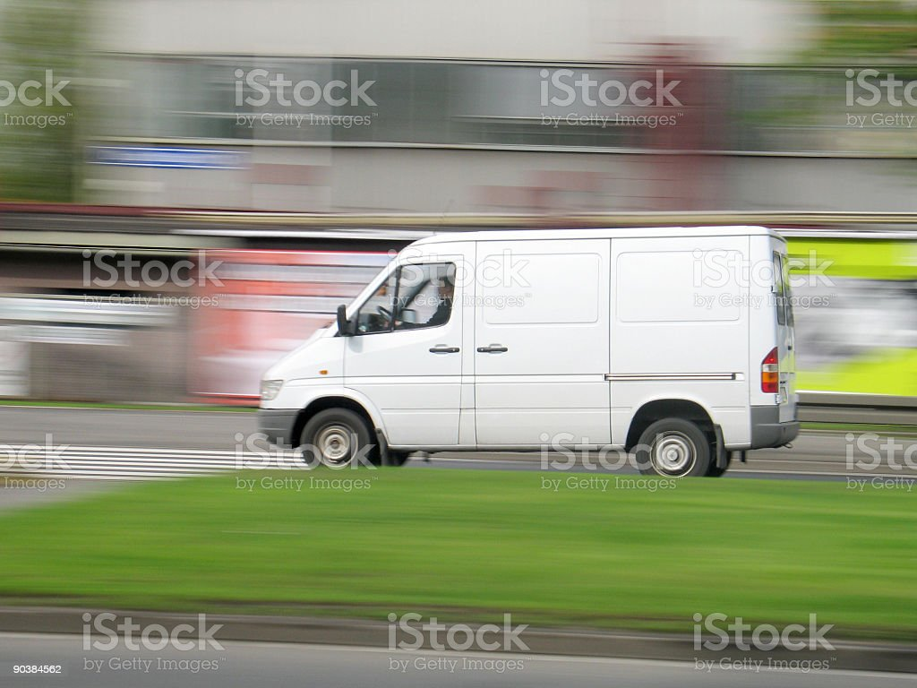 Driving van speed stock photo