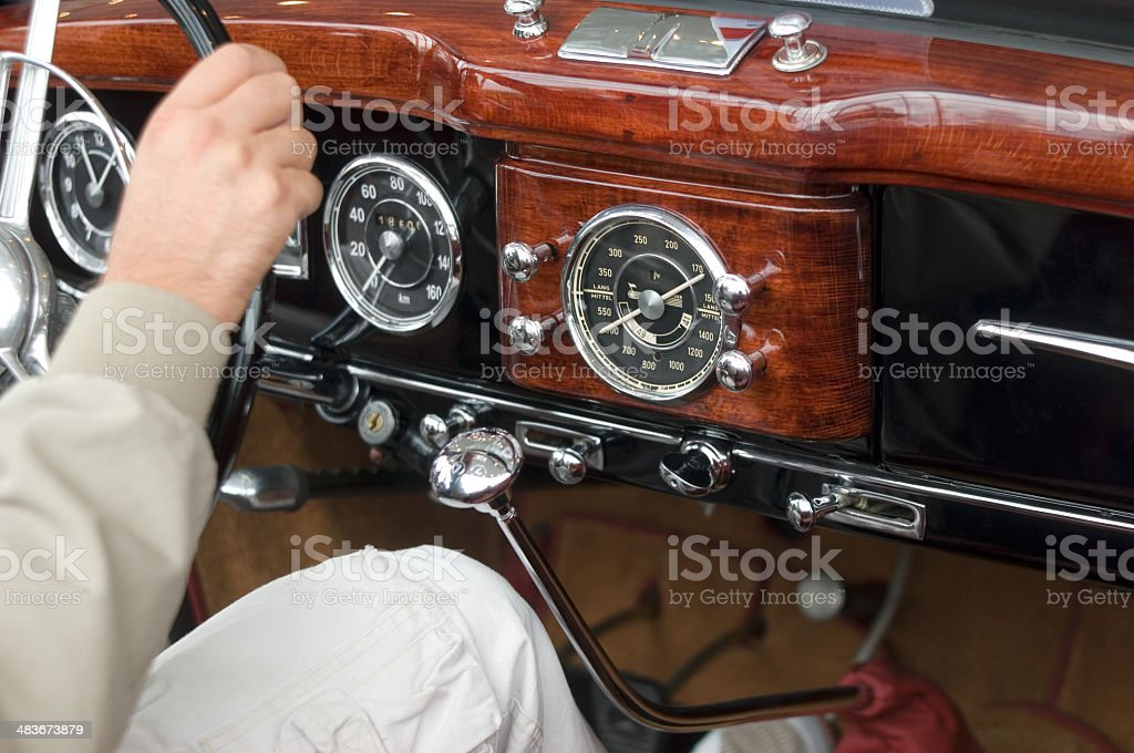 Driving vintage car royalty-free stock photo