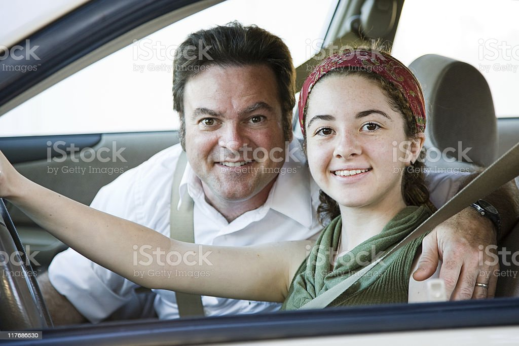 Driving with Dad stock photo