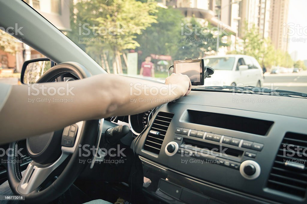 Driving with GPS royalty-free stock photo