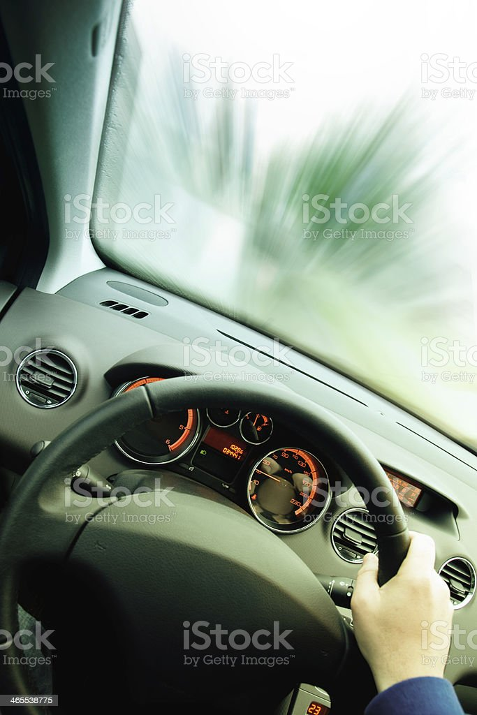 driving with high speed stock photo