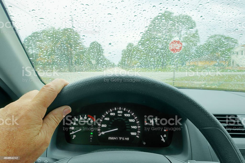 Drivng on a rainy day stock photo