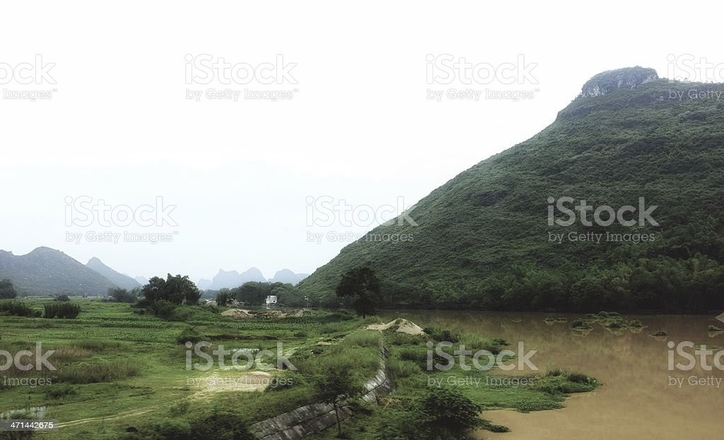 Drizzly landscape in Yunnan stock photo