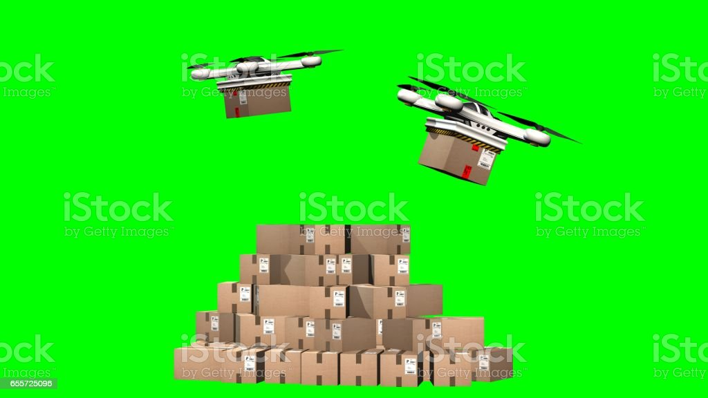 Drohne takes up a package and flies to the delivery - green screen vector art illustration