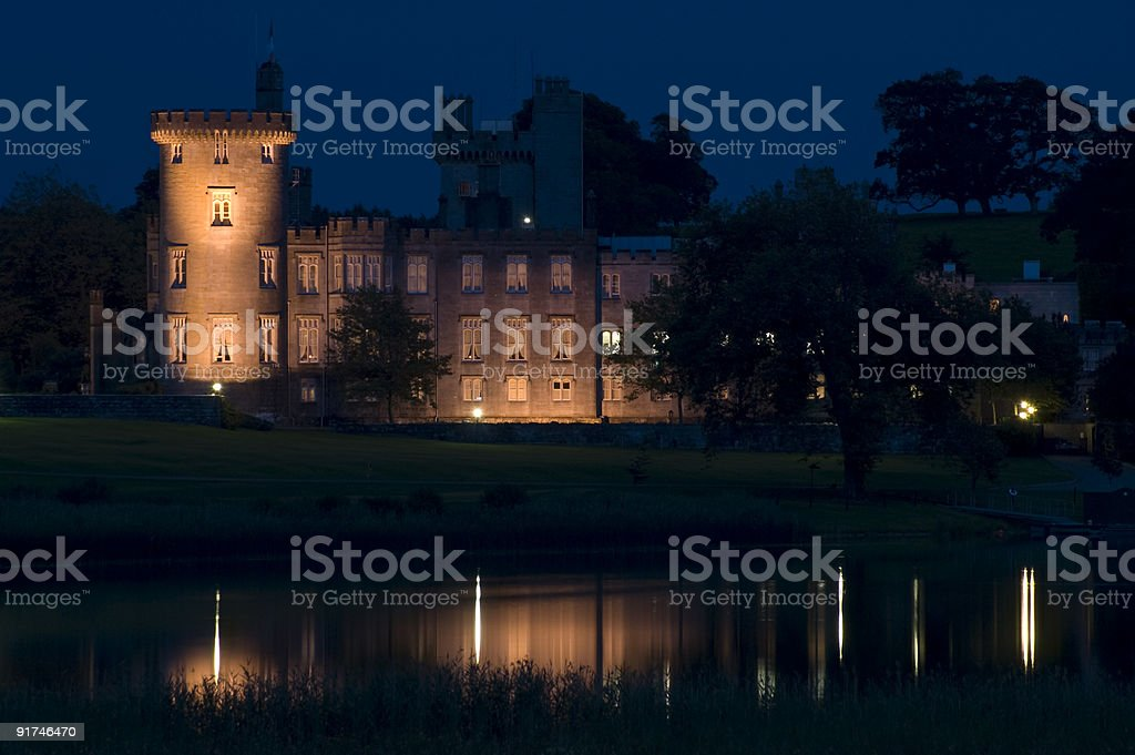 Dromoland Castle Hotel by night, County Clare, Ireland royalty-free stock photo