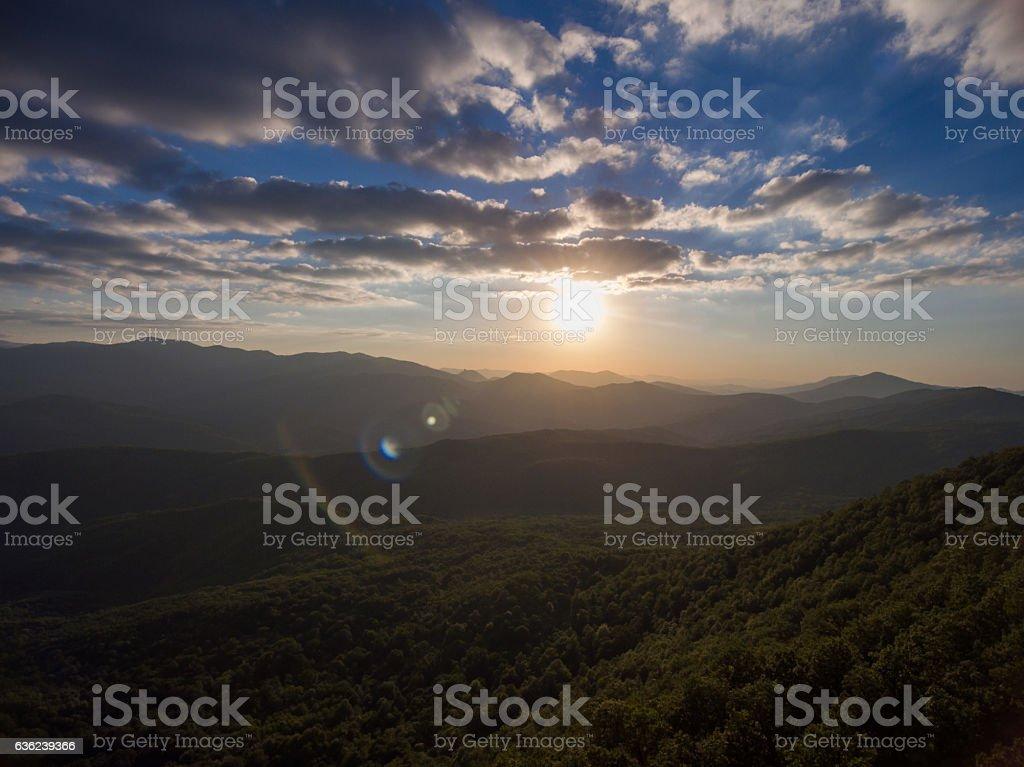 Dron photo. Mountain landscape at sunset. stock photo