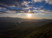 Dron photo. Mountain landscape at sunset.