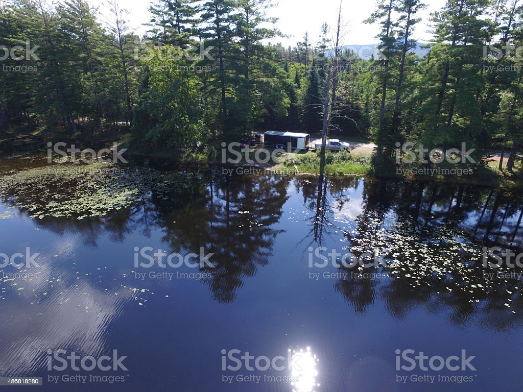 Drone Aerial, Trailer Camping, Harrisburg Lake, Stony Creek, NY, Adirondacks stock photo