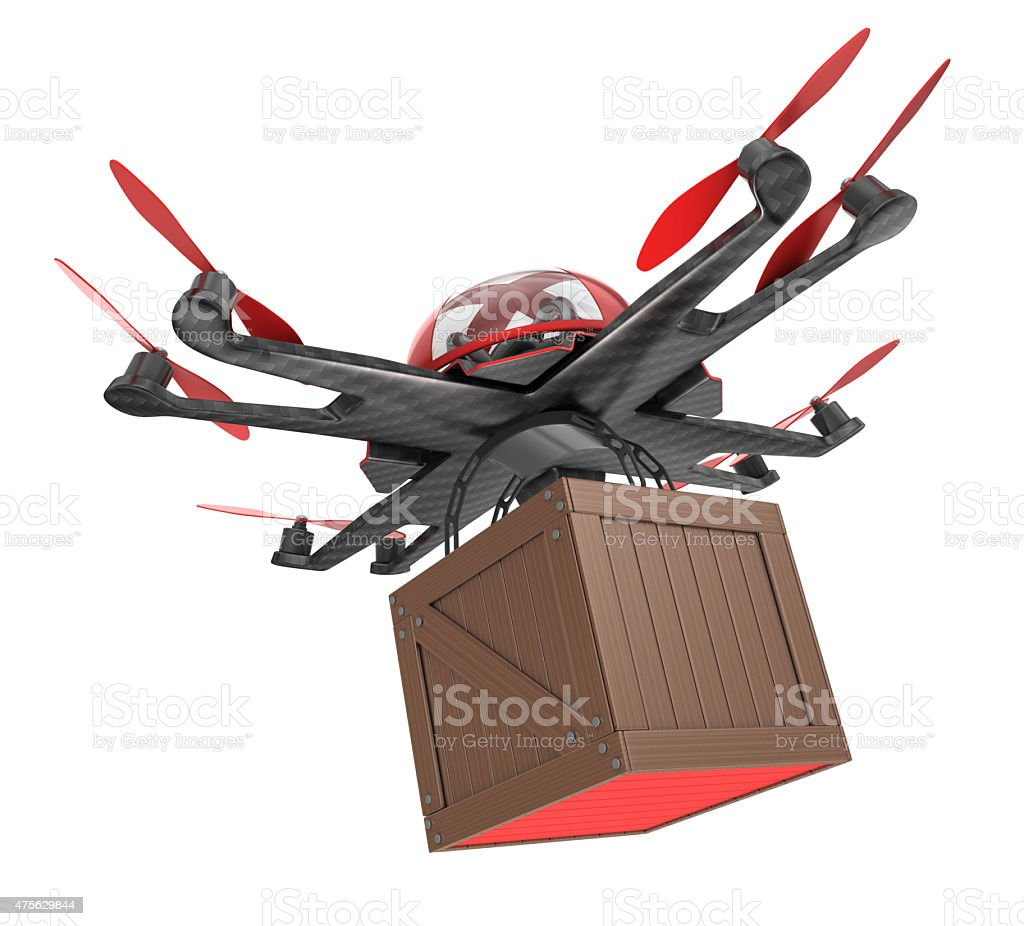 Drone and Wooden Box stock photo