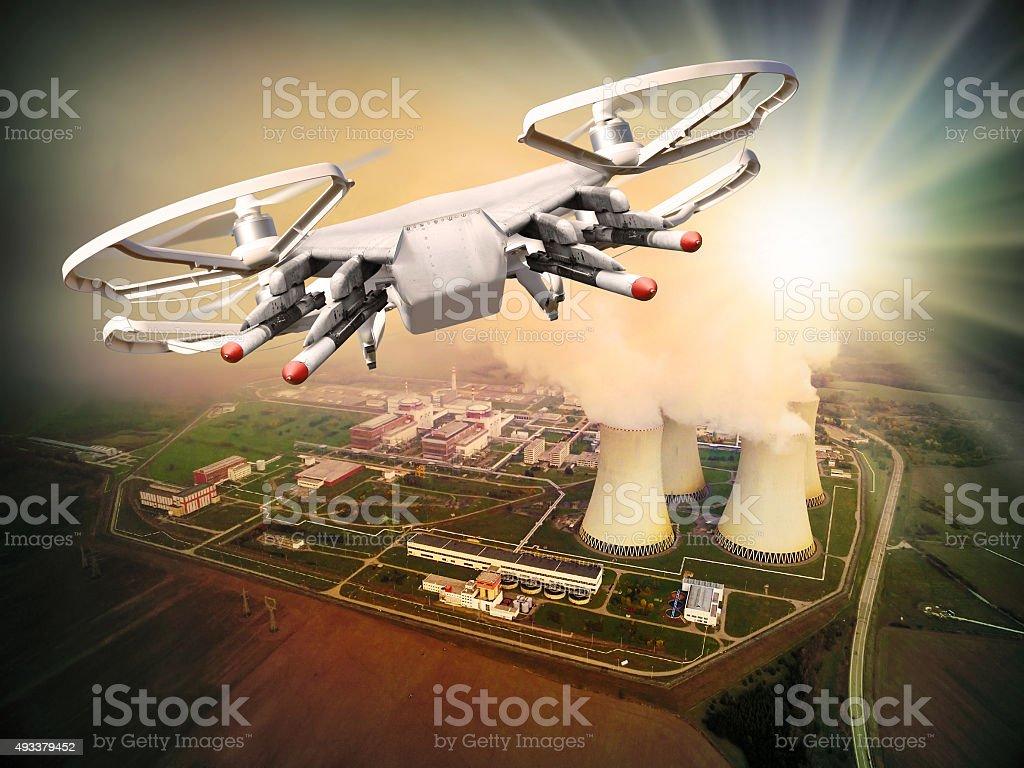 Drone attack. stock photo
