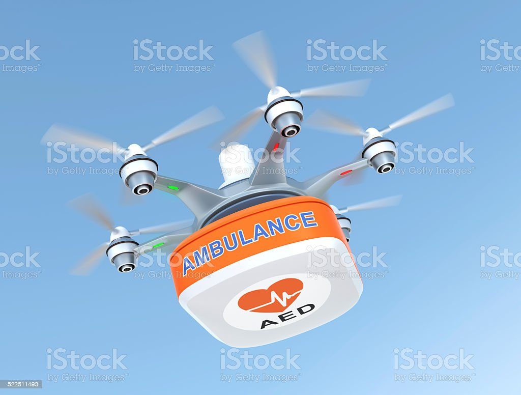 Drone carrying AED kit for emergency medical care concept. stock photo