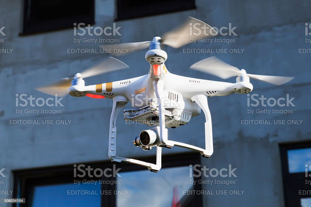 Drone copter observes construction site stock photo