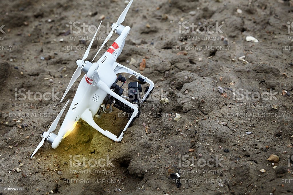 Drone crashed stock photo