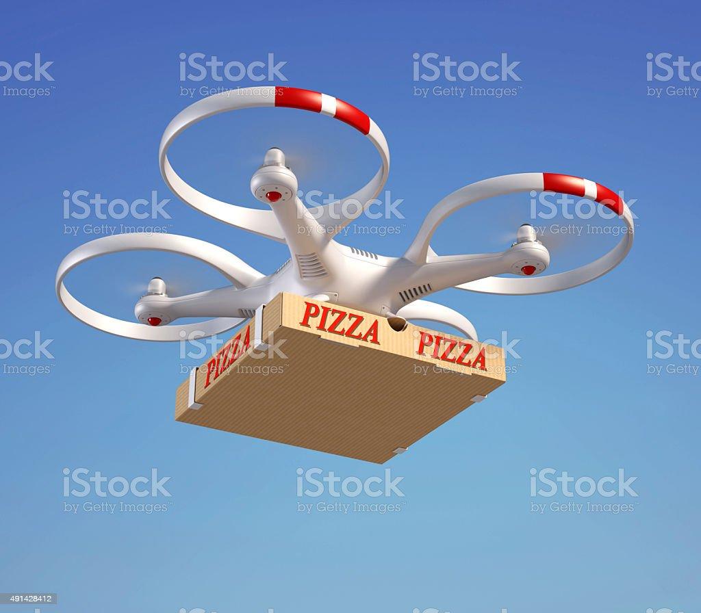 Drone delivering pizza box stock photo