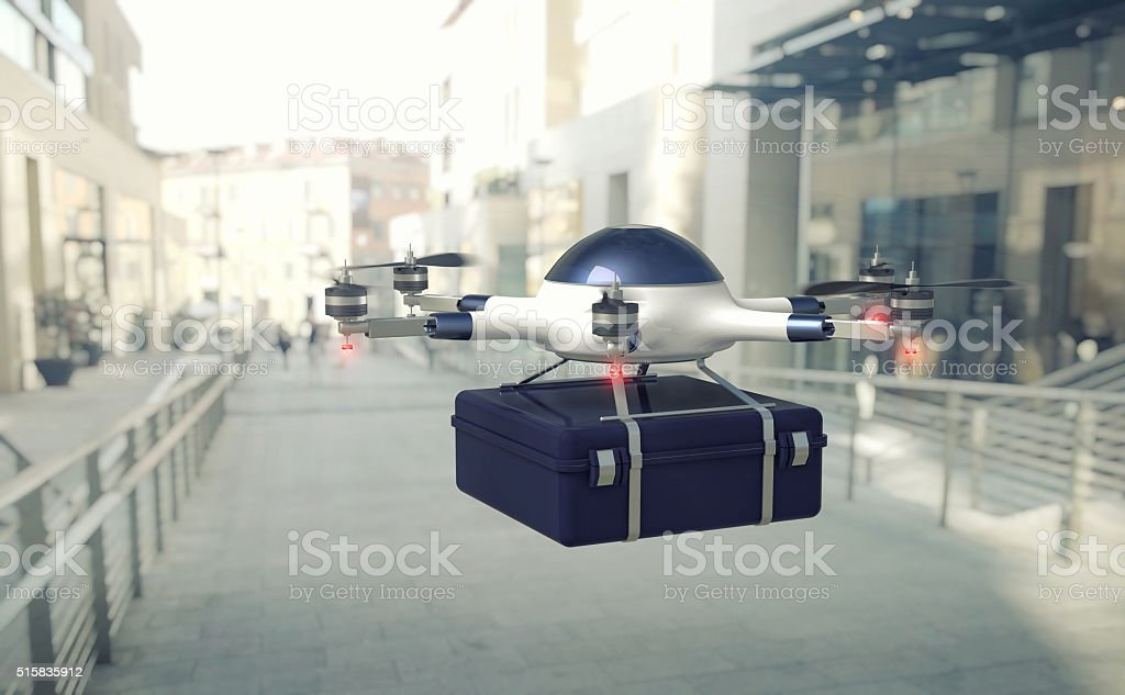 drone delivery and town stock photo