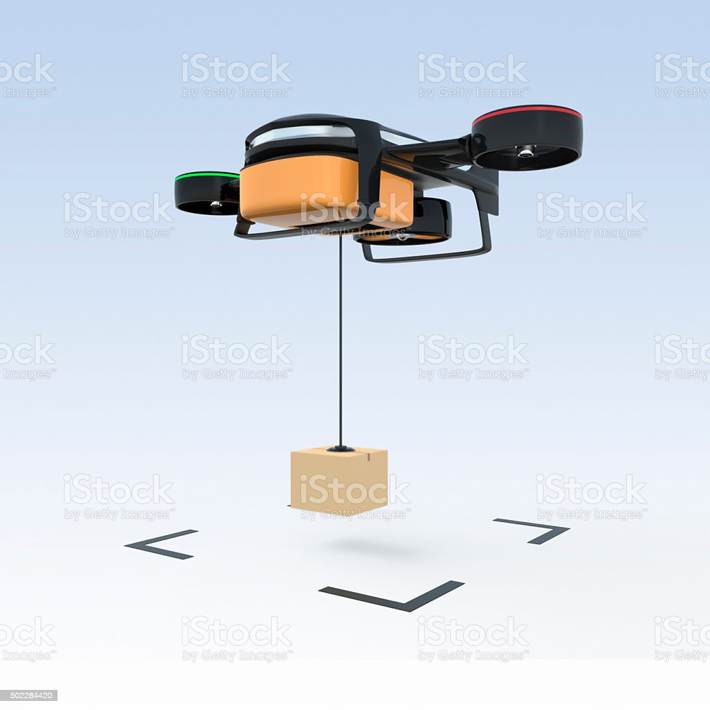 Drone drop down carton to the ground. stock photo
