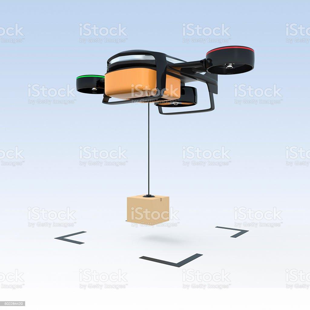 Drone drop down carton to the ground. stock photo