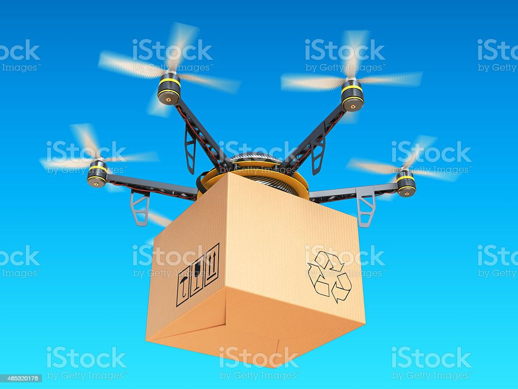 Drone express air delivery in sky, airmail concept. stock photo
