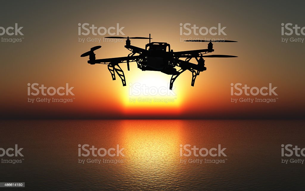 3D drone flying above a sunset sea stock photo