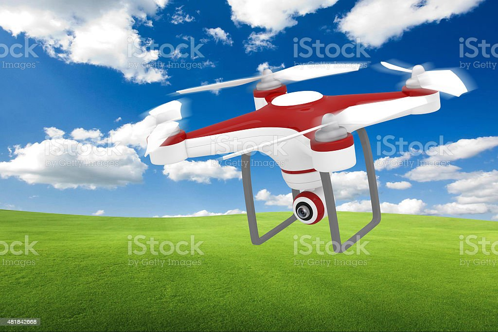 Drone Flying for Aerial Photography or Video Shooting stock photo