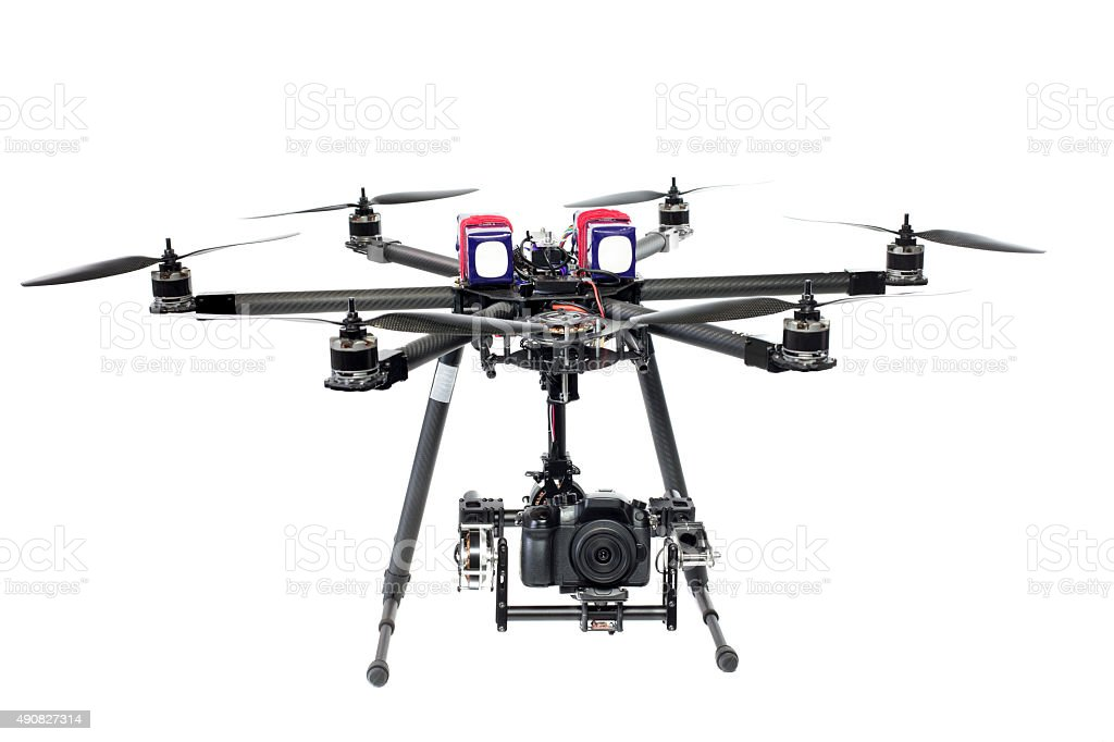 Drone flying on white background stock photo