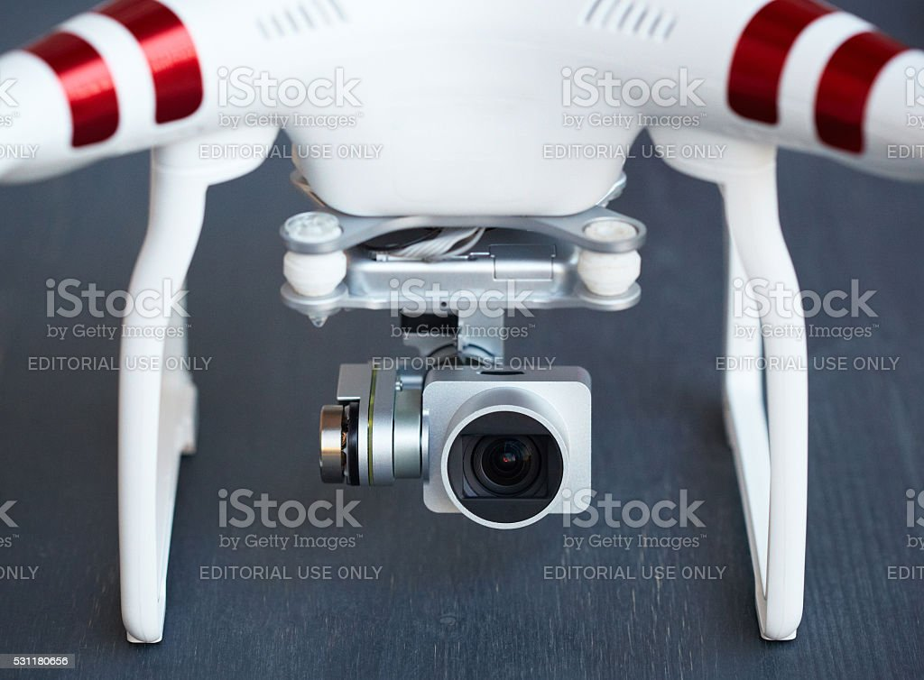 Drone gimbal and camera stock photo