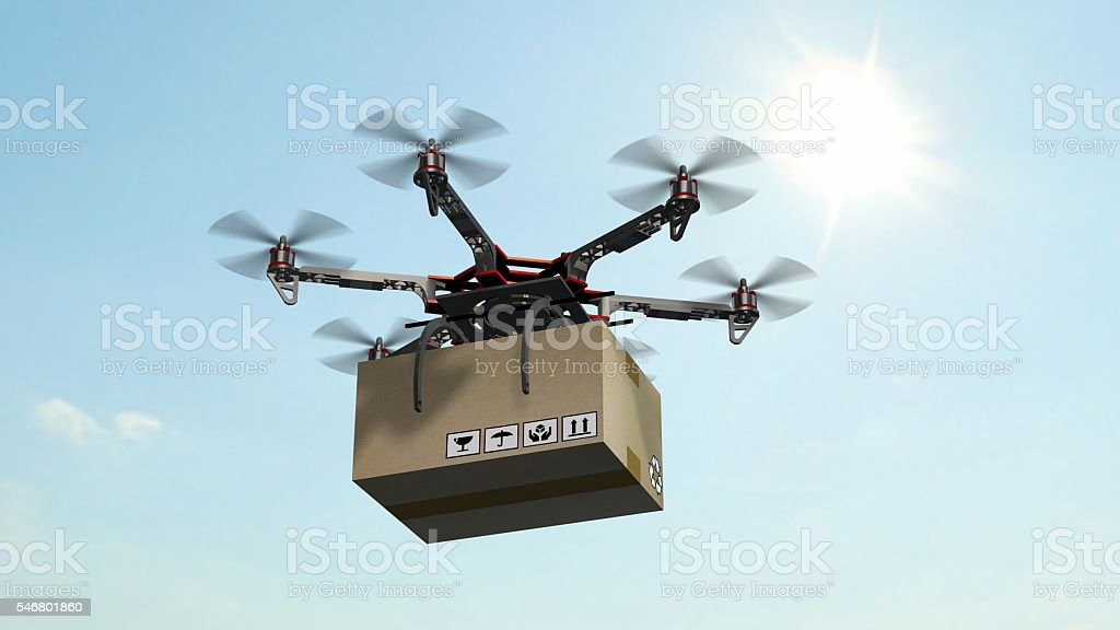 Drone Hexacopter delivers a package stock photo