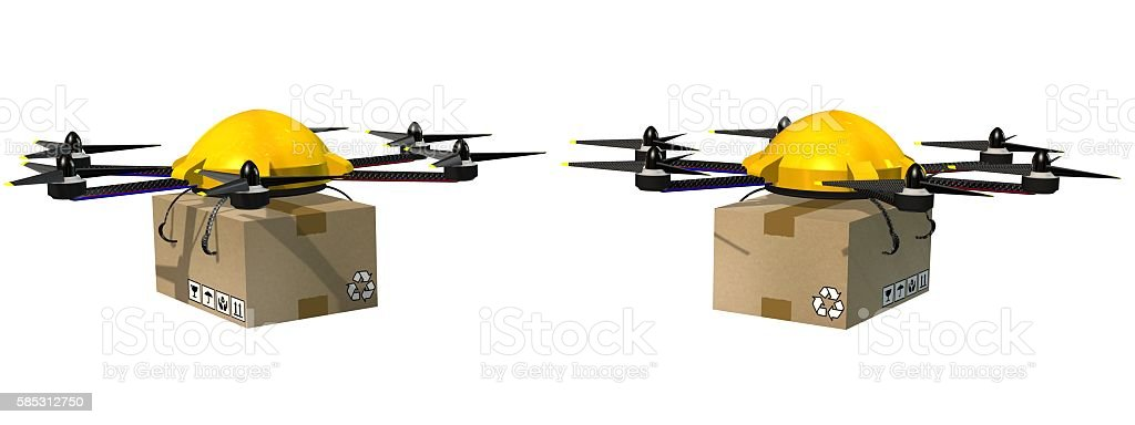 drone hexacopter delivers a packet stock photo