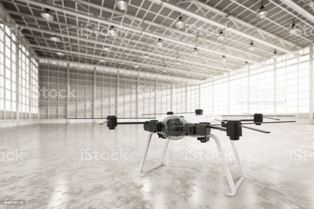 drone in factory stock photo