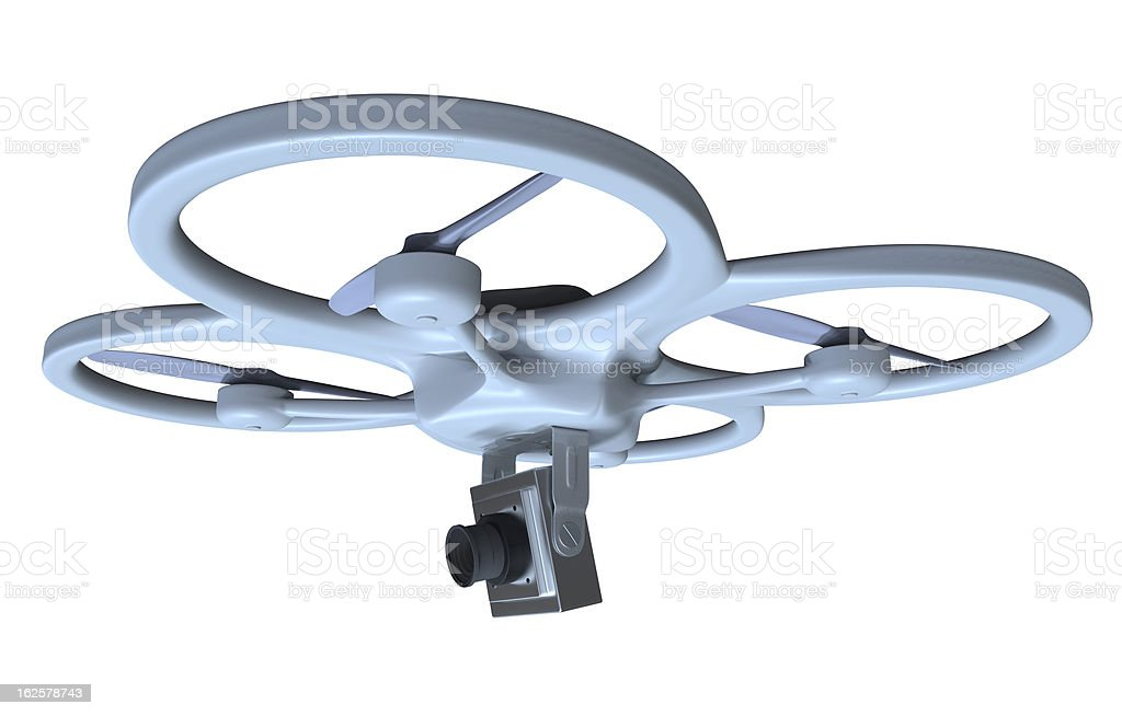 A drone like quadrocopter with an attached camera stock photo
