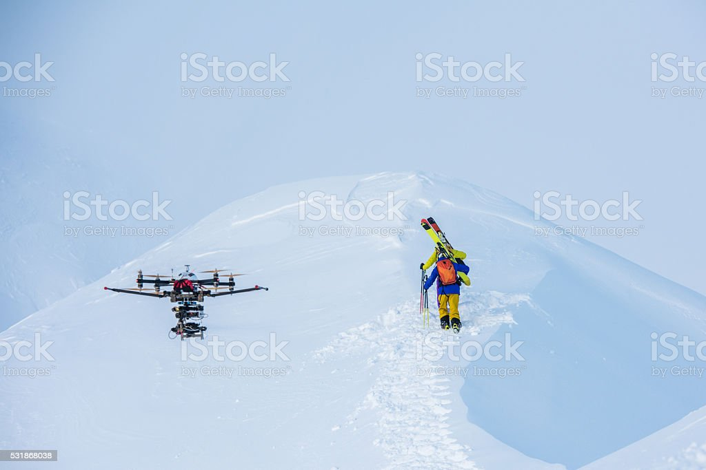 Drone on snowy landscape stock photo