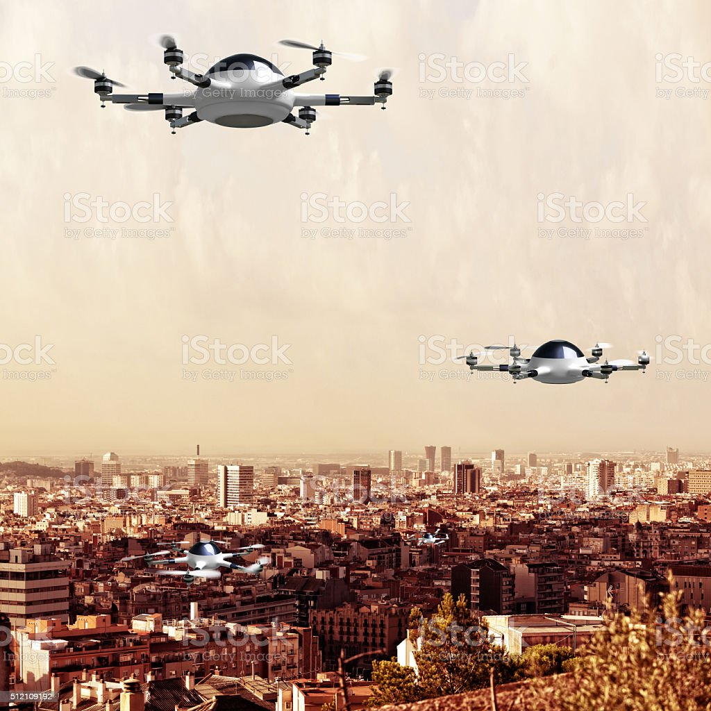 drone on town stock photo