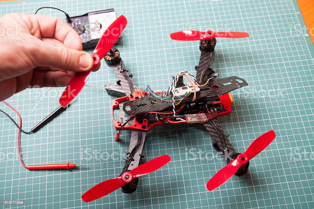 drone racer building stock photo