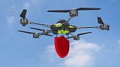Drone security concept blue sky