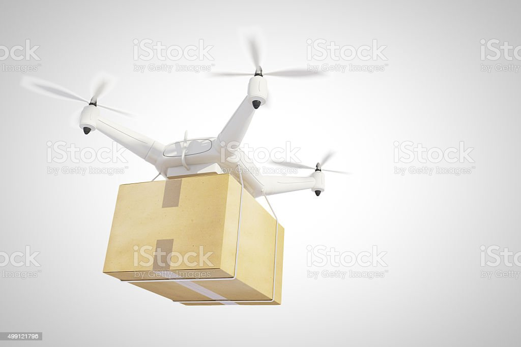 Drone ships a box and white background stock photo
